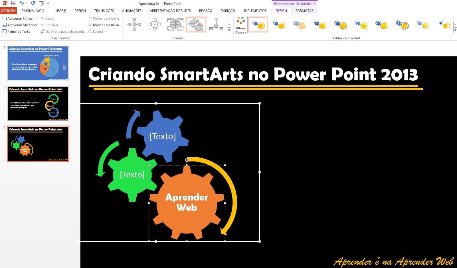 criar diagramas utilizando SmartArts formatacao de smartarts