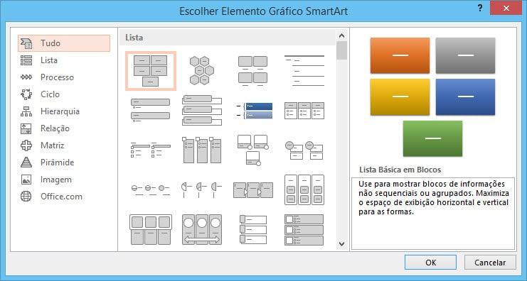 criar diagramas utilizando SmartArts estilos de smartart