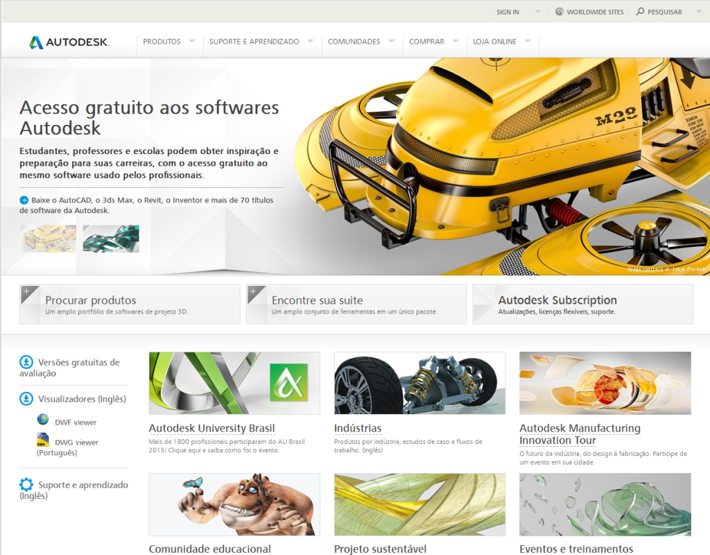 site da autodesk download de versões educacionais