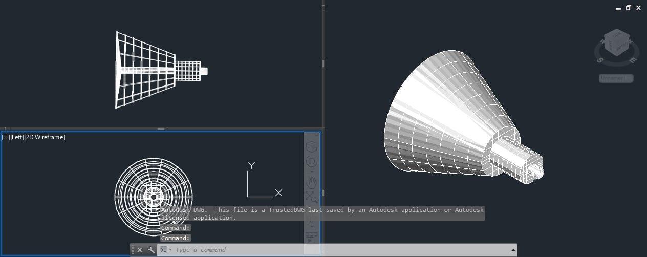 Desenho 3D feito usando o AutoCAD