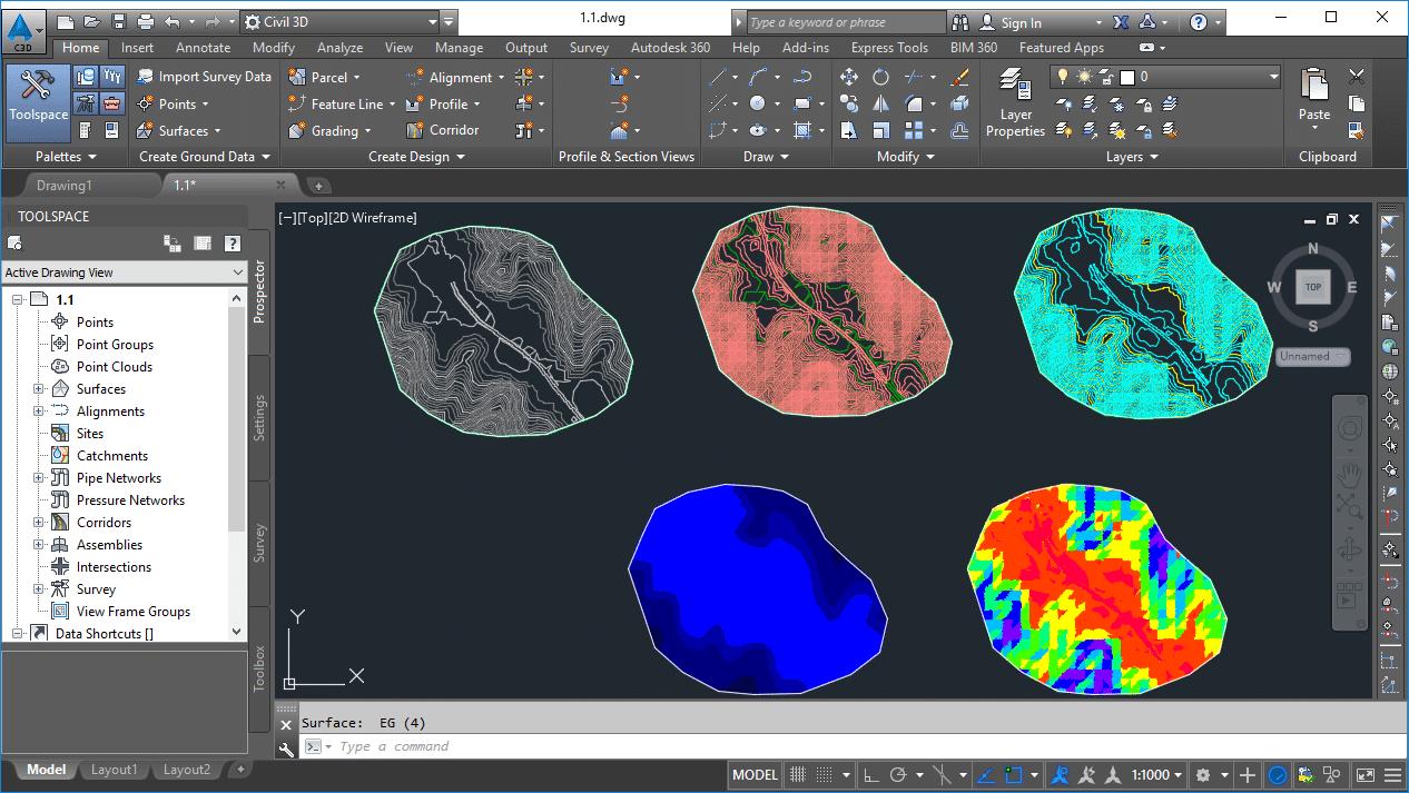 Estilos diferentes de superfícies no Civil 3D