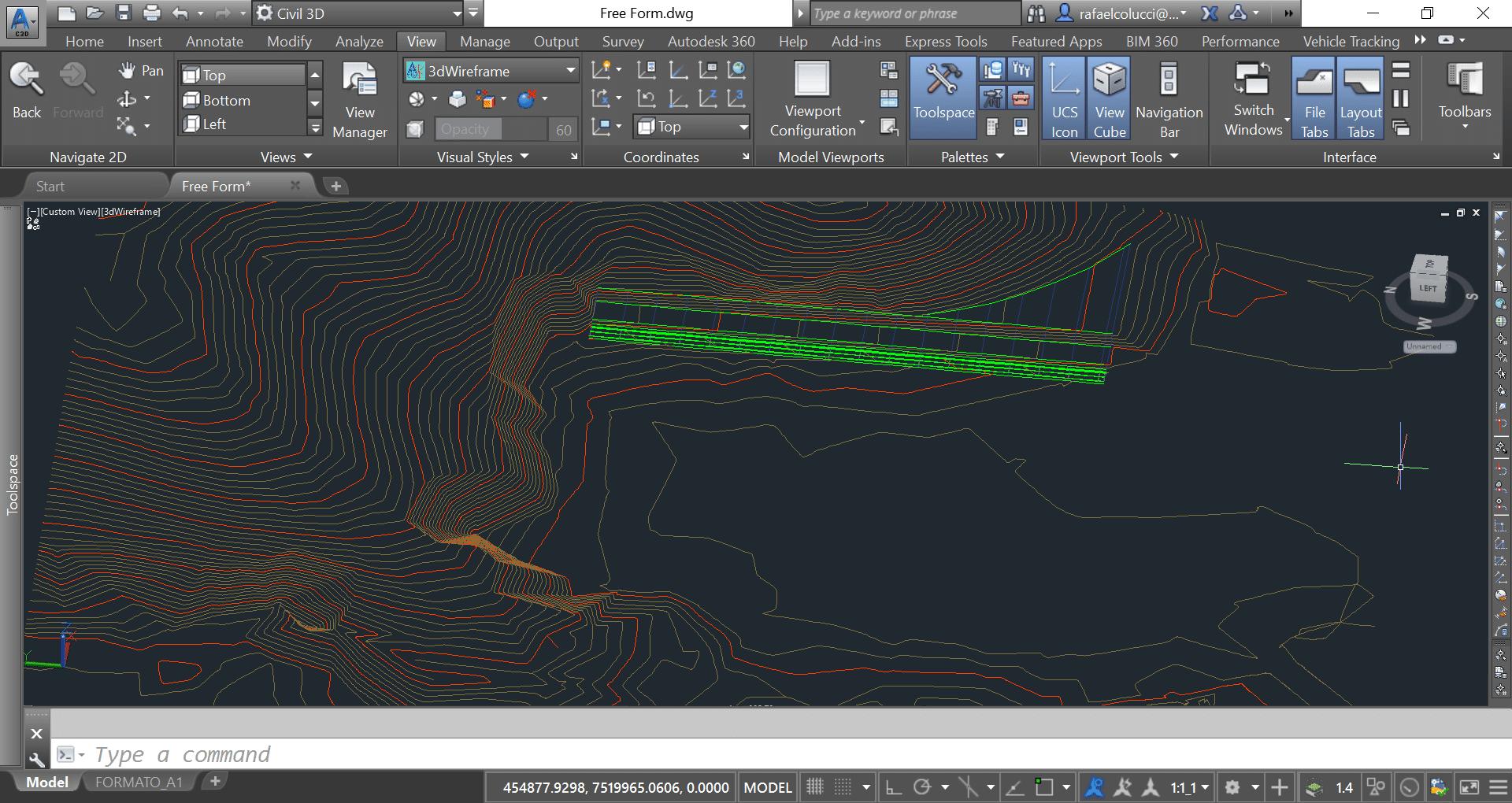 Corredores podem ser utilizados como ferramentas de terraplanagem no Civil 3D.
