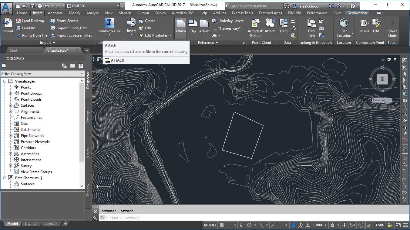 uso da ferramenta attach em projetos de terraplenagem no civil 3d