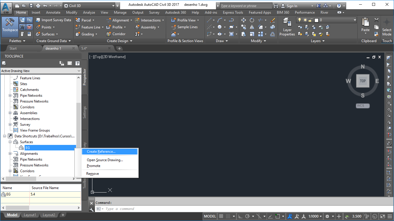 inserindo data shortcuts no Civil 3d