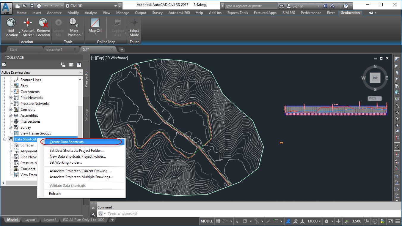 selecione a opção create data shotcuts no civil 3d
