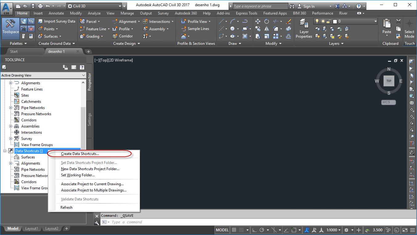Selecione a opção Create Data Shortcuts no Civil 3D.