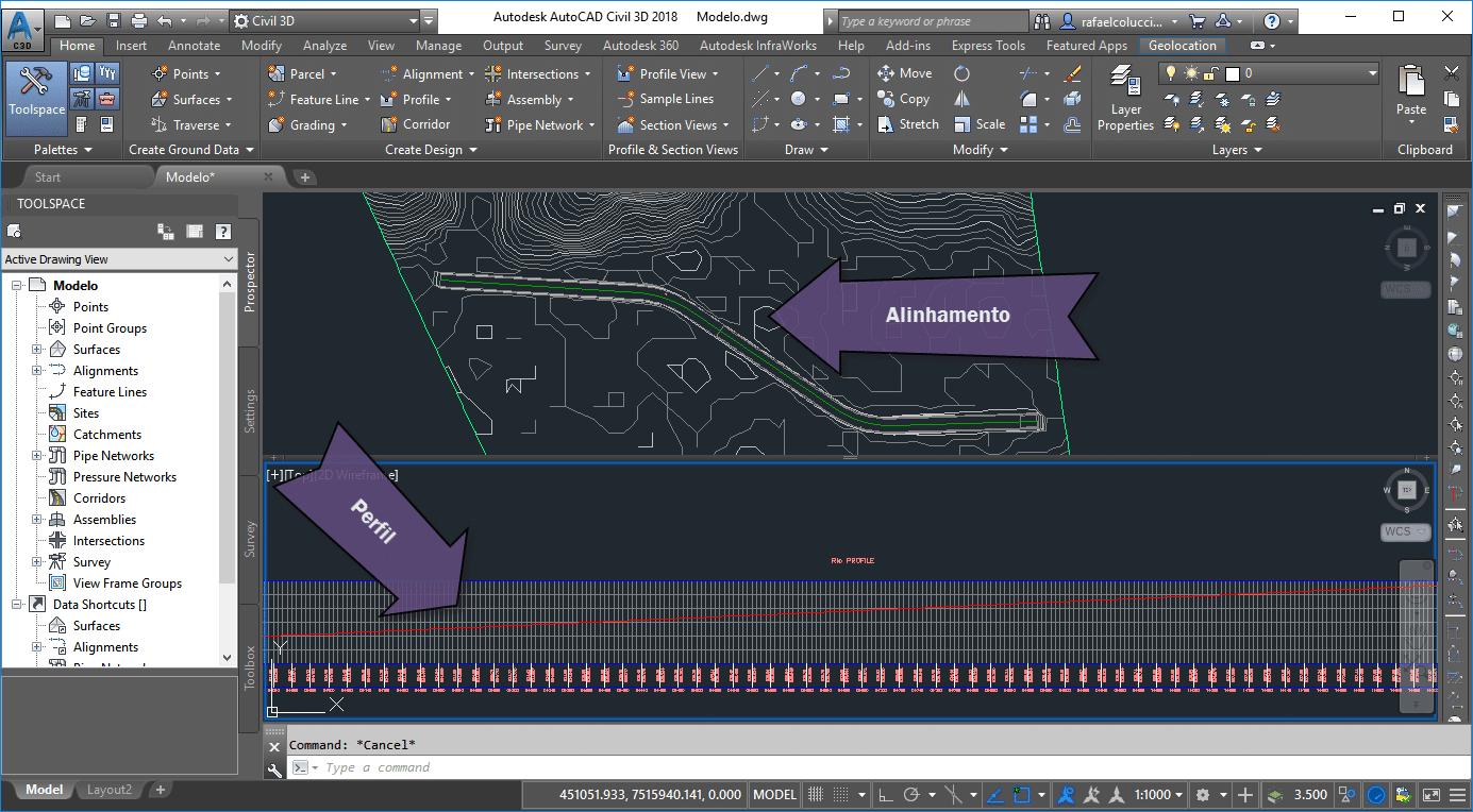 Alinhamento e perfil longitudinal criado no Civil 3D para uma simulação no HEC-RAS.