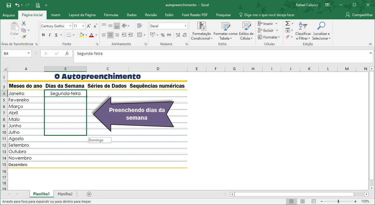 O uso do Autopreenchimento no Excel 2016 para inserir dias da semana em uma planilha.