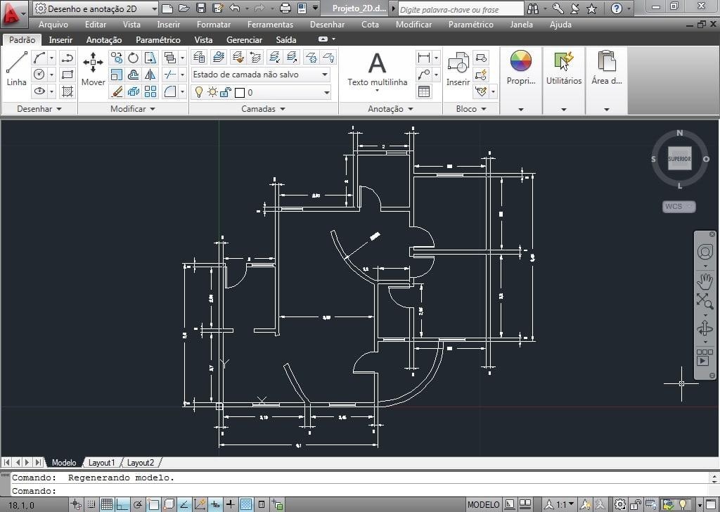 Planta baixa simples desenhada no AutoCAD
