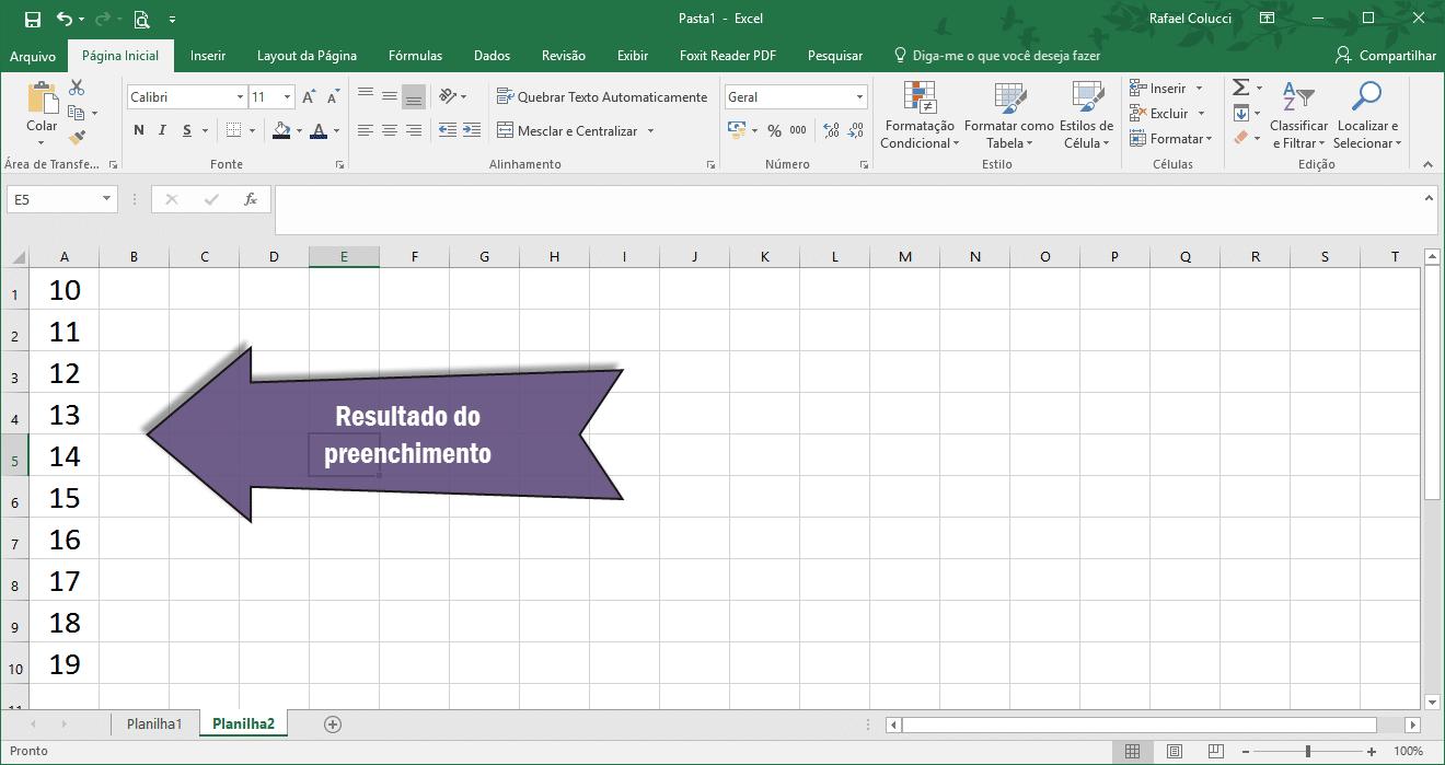Resultado do autopreenchimento no Excel 2016 utilizando a ferramenta Preencher.
