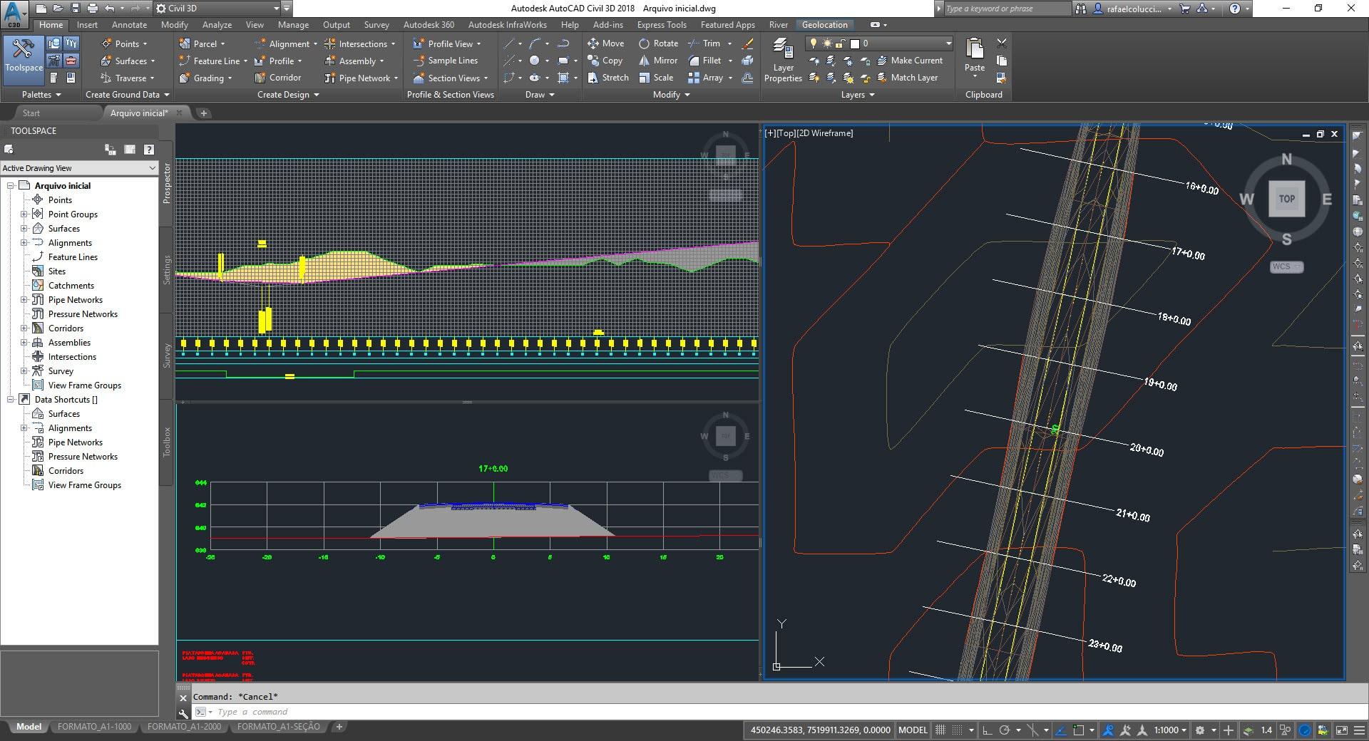exemplo de projeto desenvolvido no Civil 3D